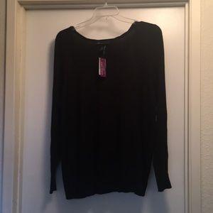 Scooped neck black sweater